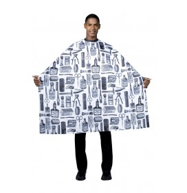 THE VINTAGE BARBER HAIR CUTTING CAPE - WHITE